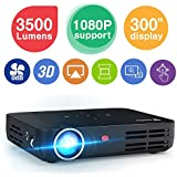"""WOWOTO H8 3500 Lumens Mini Projector LED DLP 1280x800 Real Mini Home Theater Projector WXGA Support 3D 1080P HD Perfect for Entertainment Business Wireless Screen Share Android HDMI USBx2 RJ45 176""""±"""