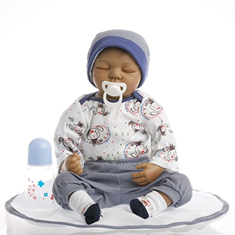 NPK collection Rebornベビー人形リアルな赤ちゃん人形ビニールシリコン赤ちゃん22インチ55 cm人形新生児赤ちゃん人形ブラック人形