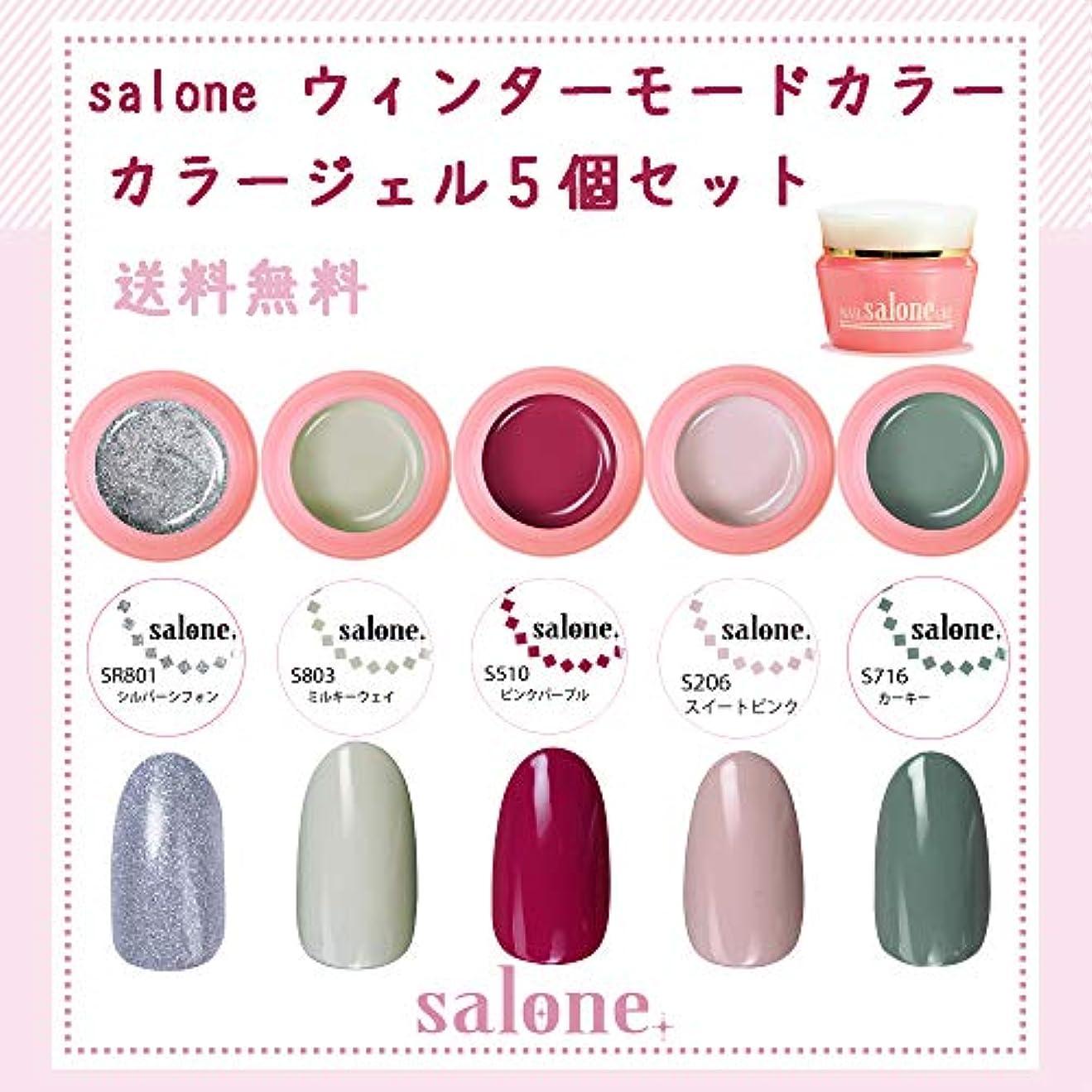 利益条件付きぐるぐる【送料無料 日本製】Salone モード カラージェル5個セット ネイルのマストカラーオシャレなモードカラー