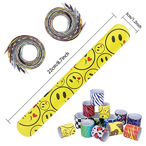 36 PCS Slap Bracelets Party Favors Pack with Diverse Pattern, Emoji, Animals, Heart Print Design, Retro Slap Wrist Bands for Kids Teens Adults Christmas Toys Prize Halloween …