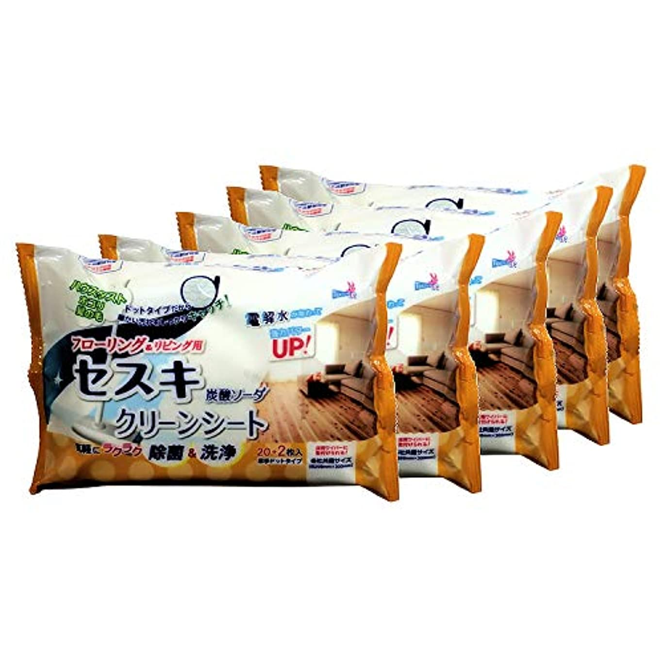 調整ミント舗装する【まとめ買い】 セスキ炭酸ソーダクリーンシート リビング用 22枚×5個