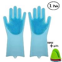 魔法は、100% の有机シリコン手袋を使用して、多用途のキッチンを使用して、ペットの美容アクセサリーの髪を清潔にして焼く (Blue)