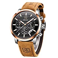 BENYAR Quartz Chronograph Waterproof Watches Business and Sport Design Leather Band Strap Wrist Watch for Men