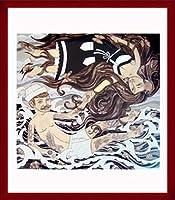 ポスター エバン ハリス barnacles & butterflies 額装品 ウッドベーシックフレーム(レッド)