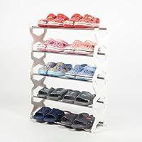 靴ラック4層ステンレススチールキャビネット家具靴オーガナイザー棚(白)を格納する56 * 20 * 67センチメートル