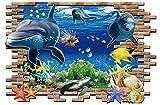 【生活向上の家】 我が家の壁を素敵にイメージチェンジ 3D 風 ウォールステッカー 壁紙 絵画 ユニークデザイン 飛び出す 海底 イルカ & 魚 3D 風 ウォールステッカー 子供部屋 絵画 バスルーム お風呂 浴室に (壁から飛び出すイルカたち)