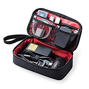 サンワダイレクト トラベルポーチ 充電器ポーチ PC周辺小物整理 収納ポーチ 旅行 ブラック 200-BAGIN006BK