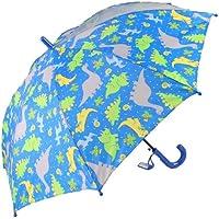 アテイン KIDS用透明窓付ジャンプ傘 グラスファイバー骨使用 親骨50cm きょうりゅう 名札付 濃青亠
