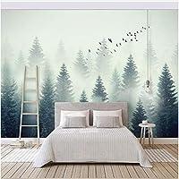 Xbwy カスタム壁画壁紙現代の美しい風景曇り森鳥壁画リビングルームテレビ-200X140Cm