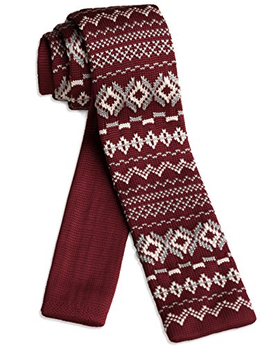 [ダブリューアンドエム] W&M ニットタイ ナロータイ ニット ネクタイ ビジネス 洗濯 可能 ノルディック 柄 冬 雪 結晶 模様 ワイン レッド 赤