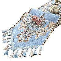 刺繍ヨーロッパスタイルのタッセルダイニングテーブルランナー刺繍レースホテルベッドコーヒーテーブルクロス、ブルー (Size : 30*180cm)