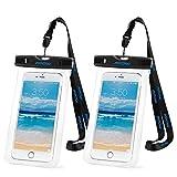 Mpow 2セット スマホケース 防水・防塵ケース iPhone6S/6S Plusなど6インチまでのスマホに対応 アウトドア潜水/温泉/釣り/お風呂/水泳/砂浜など用の防水袋 IPX8認定