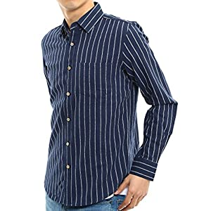 インプローブス 綿麻 シャツ ウッド調ボタン スリム ストレッチ パナマ織りシャツ メンズ A 長袖 ネイビーストライプ M サイズ