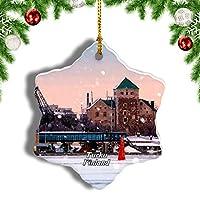 Weekinoフィンランドトゥルク城クリスマスオーナメントクリスマスツリーペンダントデコレーション旅行お土産コレクション陶器両面デザイン3インチ