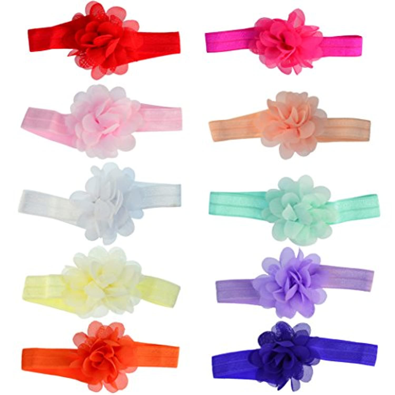 miayon 10個ベビー女の子足花ラインストーンパールベビーサンダル裸足フラワーサンダルヘッドバンドセット( 10色)