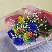 バラ・レインボーローズミラクルと青いバラブルーローズの夢のブーケ 花言葉は虹色バラは「無限の可能性」青いバラは「神の祝福」