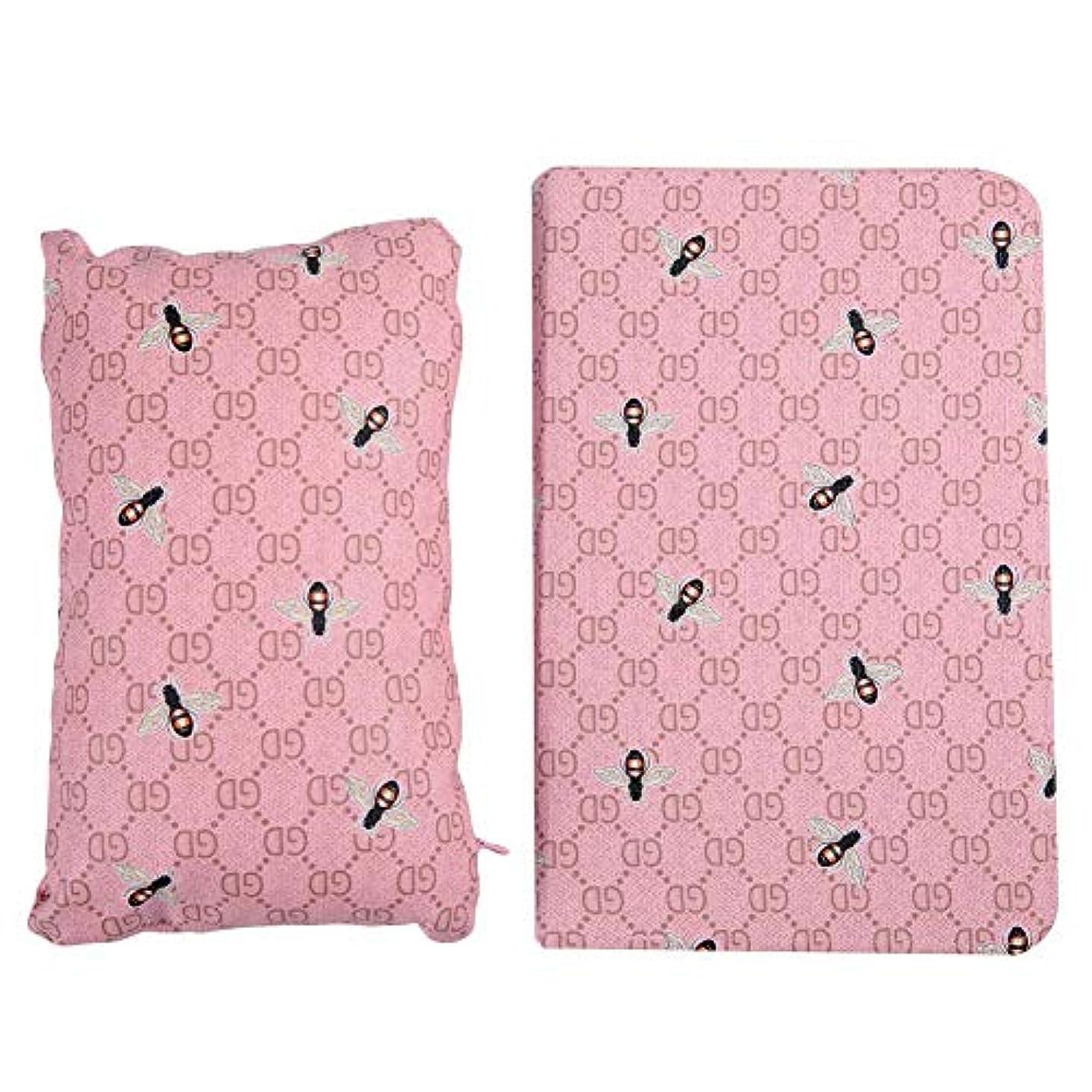 増幅後方シャーハンドピローパッドマットクッションアームレストネイルツールセット(ピンクの蜂)