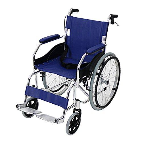 車椅子 アルミ合金製 青 約11kg 軽量 折り畳み 自走介...