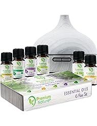 Aromatherapy Essential Oil & Diffuser Gift Set – 250 mlタンク& Top 6 Oils – Therapeutic Grade – ペパーミント、ティーツリー、レモングラス...