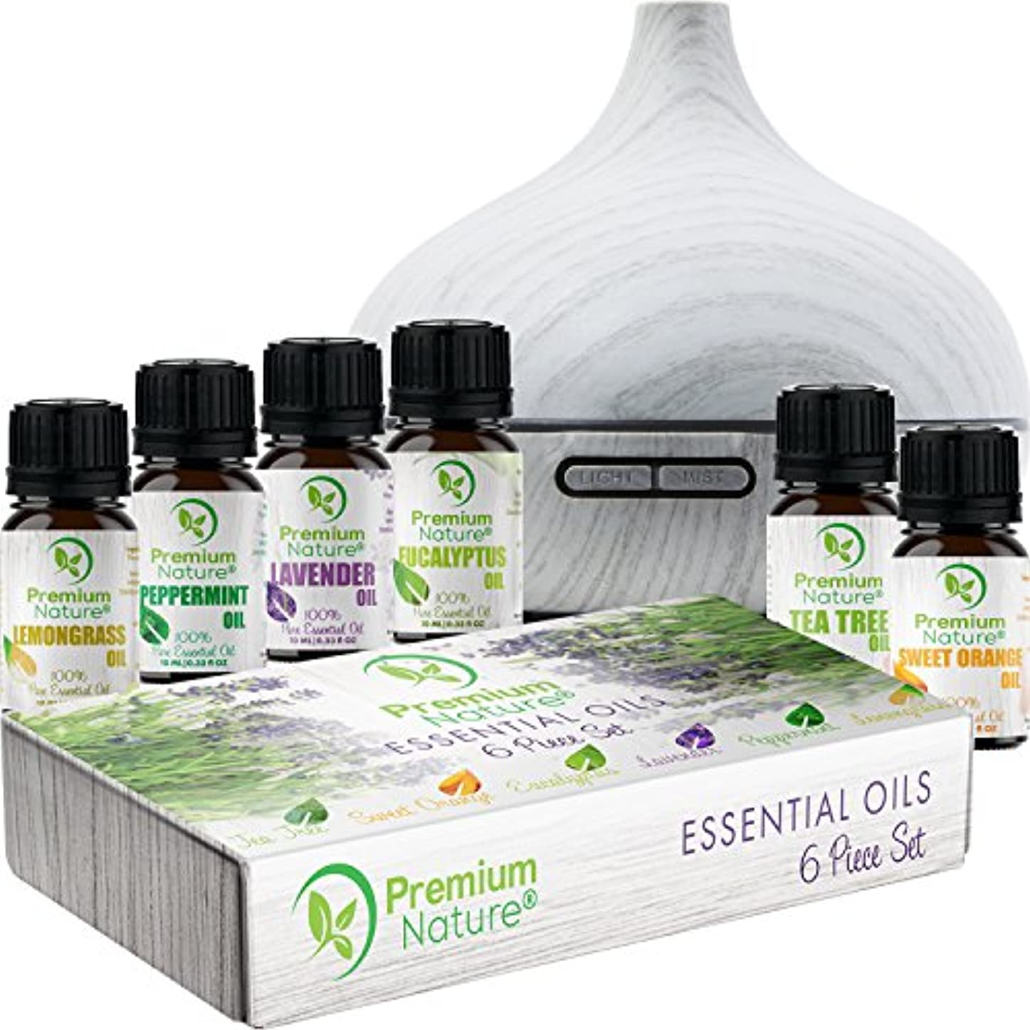 ラウンジ剣ファンシーAromatherapy Essential Oil & Diffuser Gift Set – 250 mlタンク& Top 6 Oils – Therapeutic Grade – ペパーミント、ティーツリー、レモングラス...