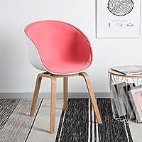 ダイニングチェア チェア Chair ッション トリプルエッジソリッドウッドレッグ背もたれ+アームレストコンピュータオフィス家庭用カジュアルソファ TINGTING (色 : A-Powder)