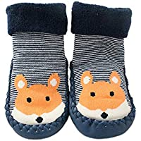Baby Boys Girls Winter Slipper Socks Anti-Slip Blue Striped Fox 3-24 Months (6-12 Months, Blue)