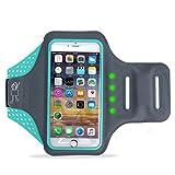 Winhi スポーツアームバンド ランニングアームバンド LEDライト 揺れに連れて発光 指紋識別と水洗可能 エコ生活 Sony /iPhone6/6S/7 plus (4.7/5.5インチ) (4.7, ブル—)