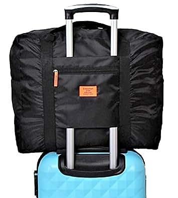 【POSITIVE】 スーツケース の持ち手に通せる バッグ オン バッグ フォールディングバッグ 軽量 折りたたみ トラベルバッグ 旅行バッグ 【 旅行 や 出張 に最適な バッグ !】 保証書付き (ブラック)