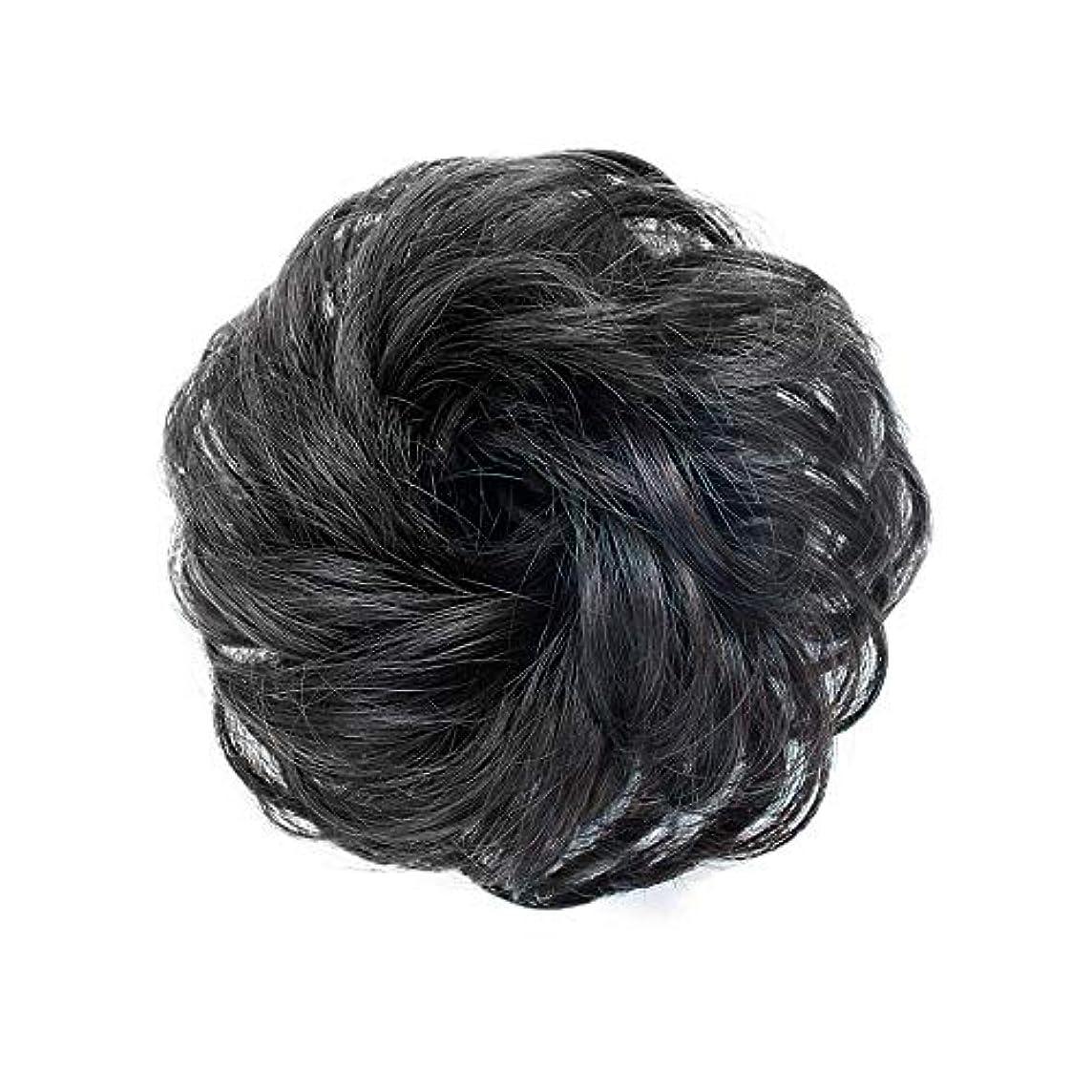 実質的に便益復活させるFEIYI WIGSウィッグ シュシュ お団子巻き髪 つけ毛 100%人毛 エクステ レディース ポイントウィッグ 部分ウィッグ シニヨン 髪飾り パーマ コーム式 花型 結婚式 和装 装着簡単 4色が選べ