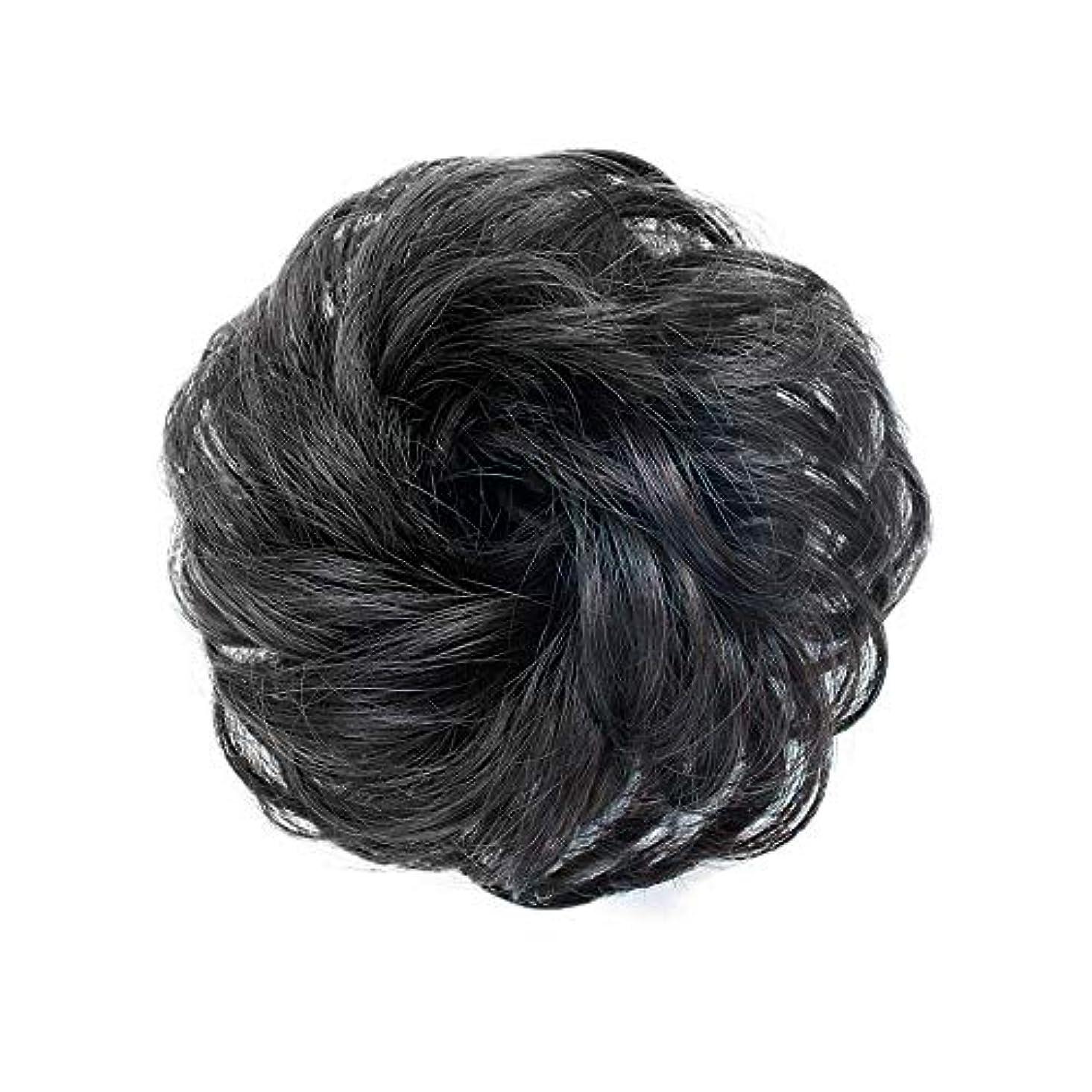 無長いです花FEIYI WIGSウィッグ シュシュ お団子巻き髪 つけ毛 100%人毛 エクステ レディース ポイントウィッグ 部分ウィッグ シニヨン 髪飾り パーマ コーム式 花型 結婚式 和装 装着簡単 4色が選べ