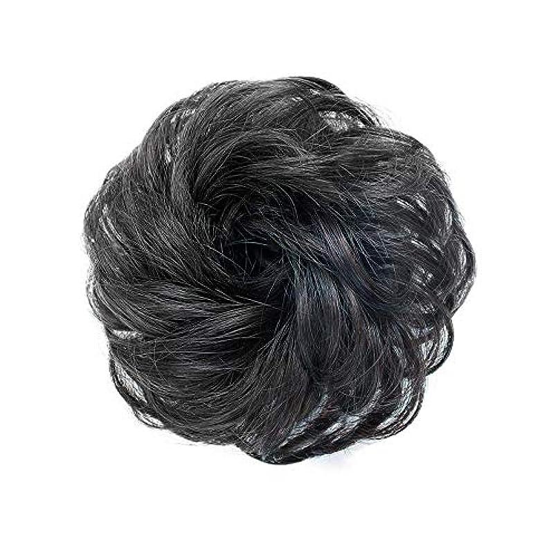 改革ターゲットファイバFEIYI WIGSウィッグ シュシュ お団子巻き髪 つけ毛 100%人毛 エクステ レディース ポイントウィッグ 部分ウィッグ シニヨン 髪飾り パーマ コーム式 花型 結婚式 和装 装着簡単 4色が選べ