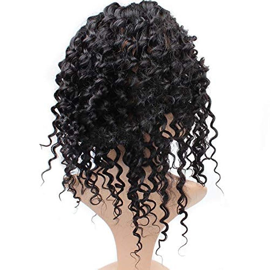 マグ価値のないボタンMayalina 7Aディープウェーブ360レース前頭かつら事前に摘み取らヘアラインナチュラルカラー人毛ウィッグ黒人女性用(8 ' - 22' '、225%密度)パーティーウィッグ (色 : 黒, サイズ : 20 inch)