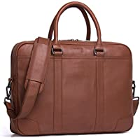 Contacts Genuine Leather Mens Messenger Shoulder Bag 14 15 Laptop Briefcase (Brown)