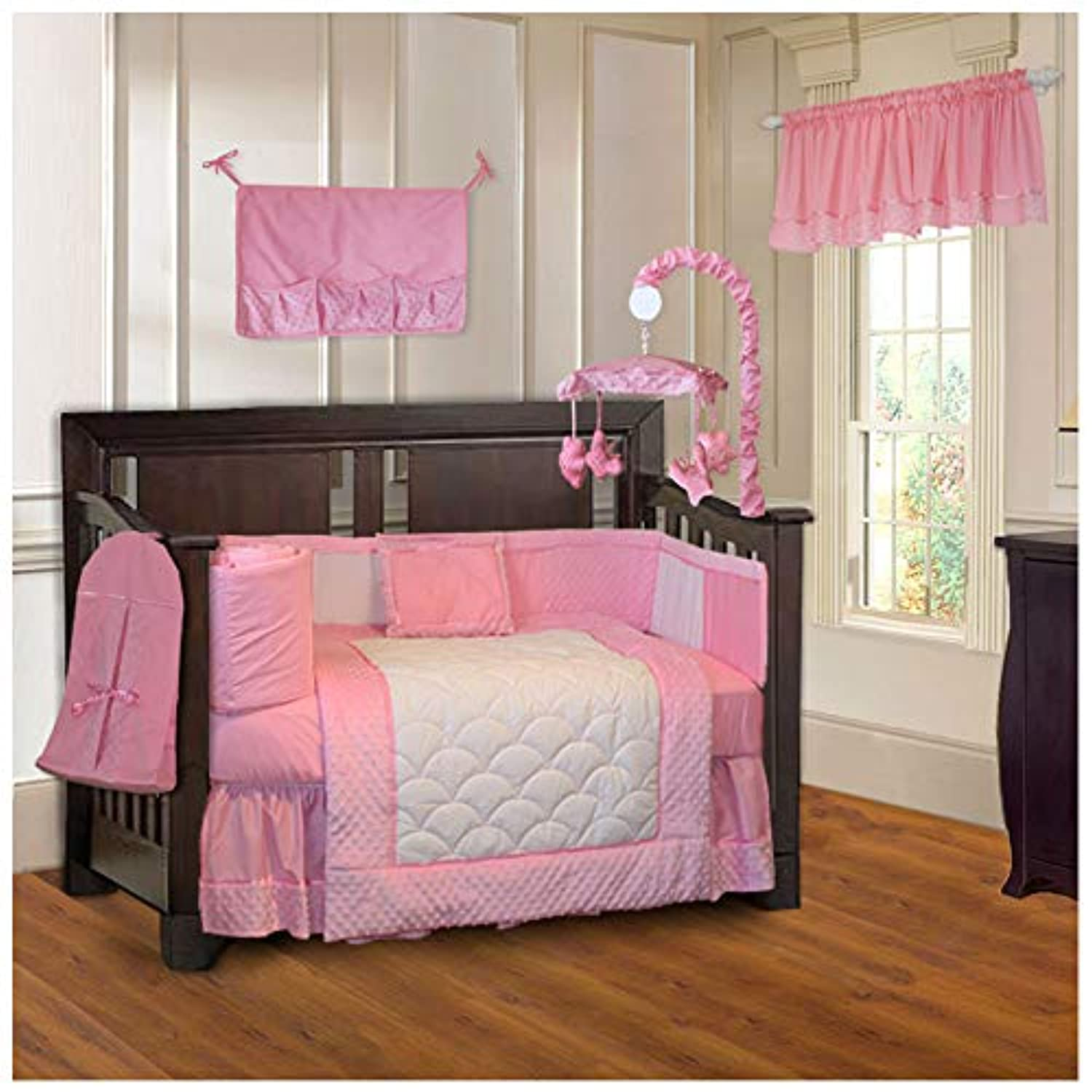 BabyFad Minky Pink 10 Piece Baby Crib Bedding Set by BabyFad