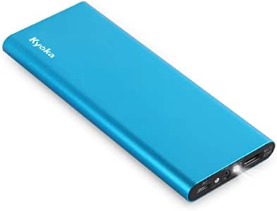 KYOKA 薄型 軽量 大容量 11200mAh LEDライト付き 持ち運び急速充電器USBスマホ モバイルバッテリー iPhone/iPad/Android各種他対応 (ブルー)