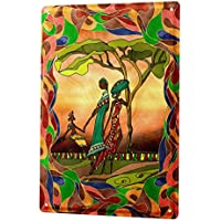 Tin Sign ブリキ看板 World Tour African women in colorful frame Metal Plate