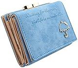 【ノーブランド品】キラキラの傘飾りがカワイイ三つ折り財布 (スカイブルー)