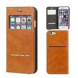iPhone6s iPhone6 ケース 手帳型 窓付き カバー カード収納 ウィンドウ フリップ / キャメル