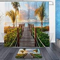 GooEoo モダンハウスデコレーションヤシの木ビーチ背景パターンシャワーカーテン3Dプリント防水コートポリエステルファブリックバスルーム12フック71インチ屋内床のマットの浴室の敷物60x40cmの