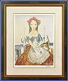 藤田嗣治 レオナール・フジタ パリの屋根の前の少女と猫 リトグラフ 複製版画 限定300部