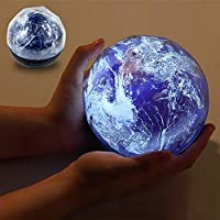 LULAA LEDナイトライトプロジェクションランプユニバース月球地球三色変換USB電源単四電池3クリスマス/スリープ/フェスティバル/パーティー/装飾ロマンチックな360度回転3膜 地球
