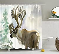 """Ambesonne Decor collectionshowerカーテンセットフック付き 69"""" W By 84"""" L sc_17525_Antlers_07.27_extralong"""
