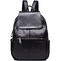 NIGEDU Women Backpacks Simple Genuine Leather Backpack School Bag Large Travel Bag (Black)