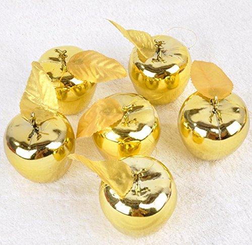クリスマスツリーオーナメント アップル りんご かわいい きらきら クリスマスツリー飾り デコレーション 吊飾 葉っぱ付きアップル 紐付き ゴールド 9個セット Xmas 北欧 (ゴールド)