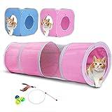折り畳み式キャットトンネルセット 2個パック(ピンク、ブルー)+猫じゃらし付き(一本)+ボール付き(三個/鈴入り)