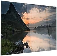 DesignArt mt14270–28–12stunning Sunrise Over湖パノラマ–Large Landscapeアート光沢メタルウォールアート–28x 12、グレー、28x 12