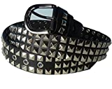 (プレイズ・ショパン) 迫力の 3連 ピラミッド スタッズ ベルト Fレザークール パンク ロック 鋲 (ピラミッド型 黒)