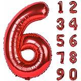 Angel&tribe 番号 0-9 誕生日 パーティー 装飾 ヘリウム 箔 マイラー 大きい 番号 バルーン 40インチ レッド 番号6