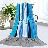 「オケアノス」柔らかい珊瑚フリース パッチワークの毛布(149.8cm*199.8cm)