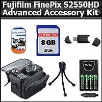 高度なアクセサリーキットfor Fujifilm FinePix s2550hd 12MPデジタルカメラは8GB高速SDメモリカード+ USB 2.0高速カードリーダー+ 4AA高容量充電式ニッケル水素電池とAC / DC急速充電器+デラックス携帯ケース+ LCD画面